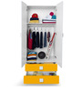 Two Door & Two Drawer Wardrobe in White & Yellow Colour by Alex Daisy