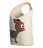 Uberlyfe Large Foldable Baby Deer Polyester Beige Laundry Bag Cum Storage Box for Kids