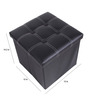 Uberlyfe Large Foldable Thread Pattern Polyester Black Ottoman
