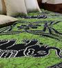 Uttam Square Elephant Moon Batik Print Green Cotton 90 x 83 Inch Bedsheet
