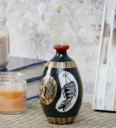 VarEesha Madhubani Black, Gold And White Terracotta Handmade Pot
