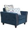 Valencia One Seater Sofa with Throw Cushions in Blue Colour by Urban Living