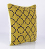 Vista Home Fashion Yellow Cotton 18 x 18 Inch Embroidered Cushion Cover