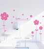 WallTola PVC Vinyl Pink Love Flowers Decal