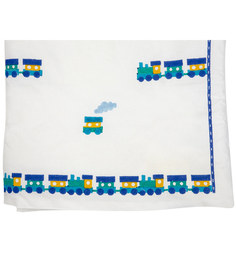 Cocobee White Blue Green Toy Train Print Baby Quilt In White Colour