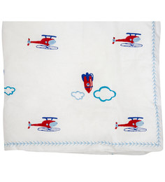 Cocobee White Helicopters And Rockets Print Baby Quilt In White Colour