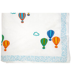 Cocobee White Hot Air Balloons Print Baby Quilt In White Colour