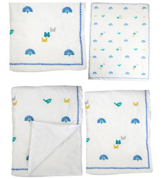 Cocobee White Peacock Pirds  Print Baby Quilt In White Colour