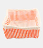Yamini Plastic Orange & White 5 L Storage Basket