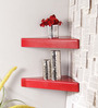 Zacarias Contemporary Wall Shelves Set of 2 in Red by CasaCraft