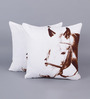 Zila Home White & Brown Cotton 16 x 16 Inch Handsome Horse Cushion Cover